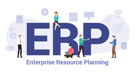 erp enterprise resource planning concept with big word or text and team people with modern flat style - vector illustration Çizim
