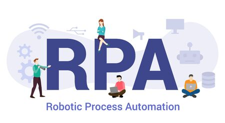 rpa robotic process automation concept with big word or text and team people with modern flat style - vector illustration
