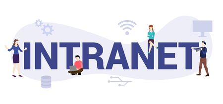 intranet internet network concept with big word or text and team people with modern flat style - vector illustration