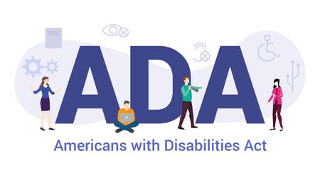 ada americans with disabilities act concept with big word or text and team people with modern flat style - vector illustration