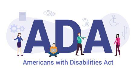 Los estadounidenses con discapacidades de ada actúan concepto con gran palabra o texto y personas del equipo con estilo plano moderno - ilustración vectorial Ilustración de vector