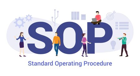sop standard operating procedure concept with big word or text and team people with modern flat style - vector illustration