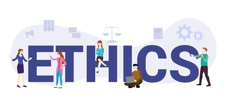 ethics or code of conduct concept with big word or text and team people with modern flat style - vector illustration