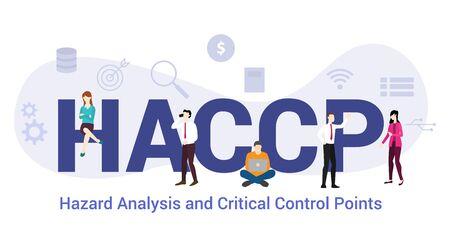 analisi dei rischi haccp e concetto di punti di controllo critici con grandi parole o testo e persone del team con uno stile piatto moderno - illustrazione vettoriale