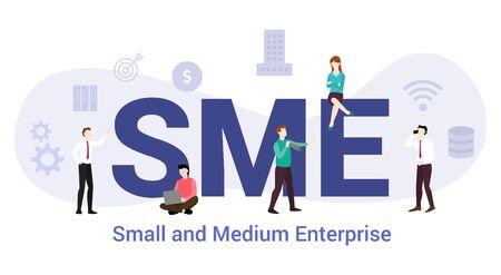 SME concepto de pequeña y mediana empresa con gran palabra o texto y personas del equipo con estilo plano moderno - ilustración vectorial