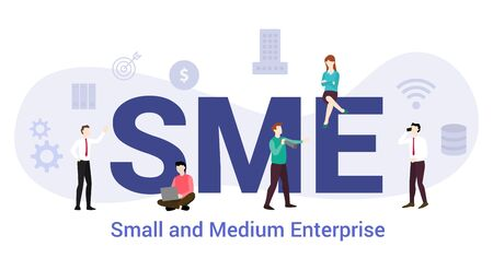 sme small and medium enterprise concept with big word or text and team people with modern flat style - vector illustration Stock fotó - 130655245