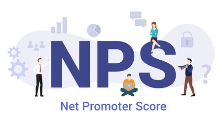 nps net promoter score concept with big word or text and team people with modern flat style - vector illustration Illustration