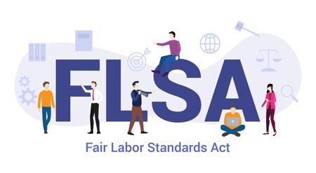 flsa fair labor standards act concept with big word or text and team people with modern flat style - vector illustration