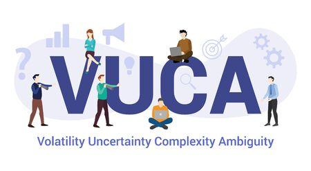 vuca volatilité incertitude complexité ambiguïté concept avec grand mot ou texte et équipe avec style plat moderne - illustration vectorielle