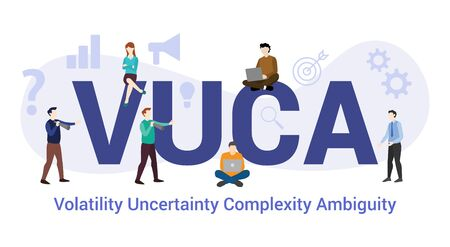 vuca volatility uncertainty complexity ambiguity concept with big word or text and team people with modern flat style - vector illustration