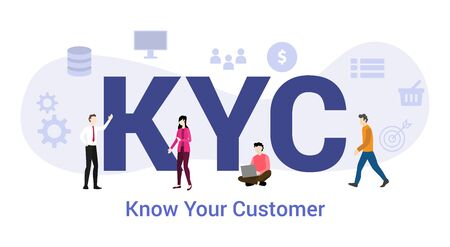 kyc know your customer concept with big word or text and team people with modern flat style - vector illustration