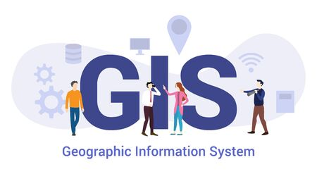 gis geographical information system technology concept with big word or text and team people with modern flat style - vector illustration