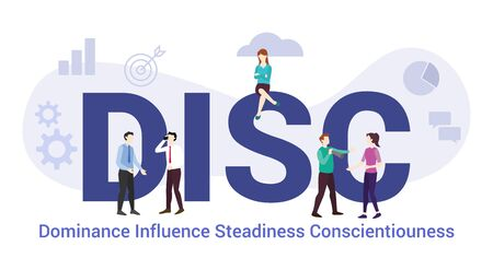 disc dominance influence steadiness conscientiouness concept with big word or text and team people with modern flat style - vector illustration