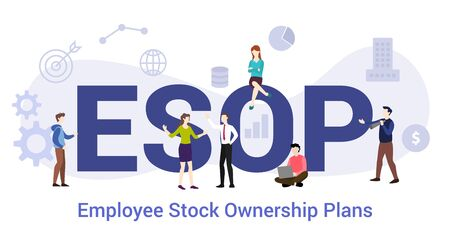 esop employee stock ownership plans concept with big word or text and team people with modern flat style - vector illustration