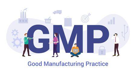 gmp goed productiepraktijkconcept met groot woord of tekst en teammensen met moderne vlakke stijl - vectorillustratie Vector Illustratie