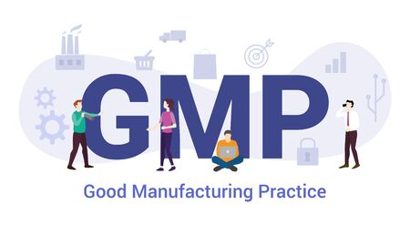 gmp good manufacturing practice concept with big word or text and team people with modern flat style - vector illustration