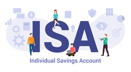 isa individual savings account concept with big word or text and team people with modern flat style - vector illustration 矢量图像