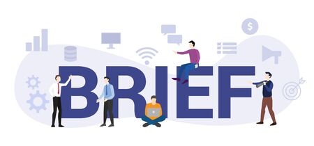 brief company team briefing concept with big word or text and team people with modern flat style - vector illustration Illustration