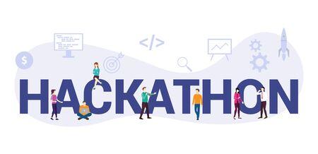 concept de démarrage de programmation de technologie hackathon avec un grand mot ou un texte et des gens d'équipe avec un style plat moderne - illustration vectorielle Vecteurs