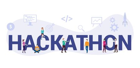 hackathon technology programming startup concept with big word or text and team people with modern flat style - vector illustration