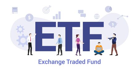 etf ecchange traded fund concept with big word or text and team people with modern flat style - vector illustration