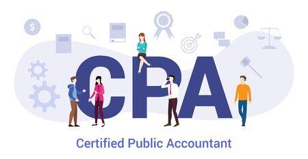 concept d'expert-comptable certifié cpa avec un grand mot ou un texte et des gens d'équipe avec un style plat moderne - illustration vectorielle