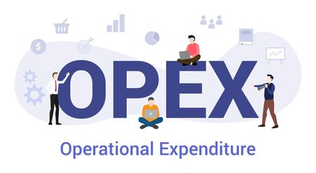 opex operational expenditure concept with big word or text and team people with modern flat style - vector illustration