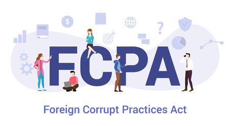 fcpa外国の腐敗行為は、現代のフラットスタイルで大きな単語やテキストとチームの人々との概念を実行します - ベクトルイラストレーション ベクターイラストレーション