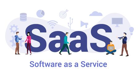 saas software as a service concept with big word or text and team people with modern flat style - vector illustration
