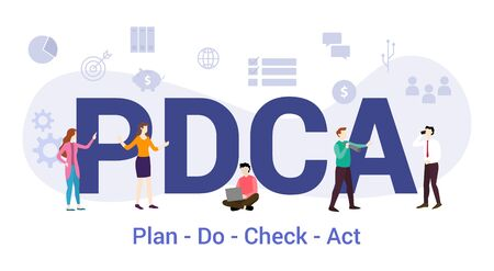 pdca plan do check act concept with big word or text and team people with modern flat style - vector illustration Ilustração