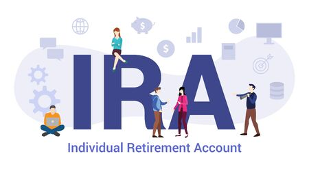 ira individual retirement account concept sop standard operating procedure concept with big word or text and team people with modern flat style - vector illustration