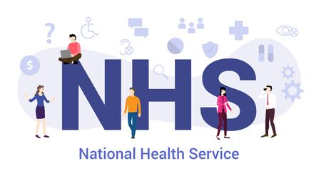 nhs national health service concept with big word or text and team people with modern flat style - vector illustration