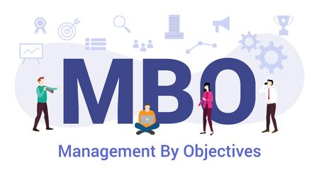 mbo management by objectives concept with big word or text and team people with modern flat style - vector illustration