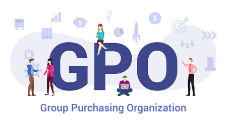 gpo group purchasing organization concept with big word or text and team people with modern flat style - vector illustration