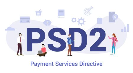 psd2 payment services directive concept with big word or text and team people with modern flat style - vector illustration Ilustração