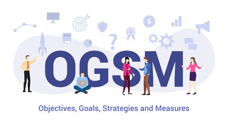 ogsm objectives goals strategies and measures concept with big word or text and team people with modern flat style - vector illustration Ilustração