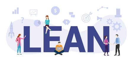 lean workflow management concept with big word or text and team people with modern flat style - vector illustration Stock Illustratie