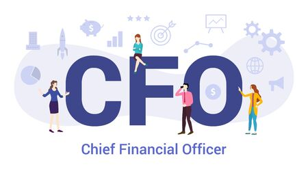 cfo chief financial officer concept with big word or text and team people with modern flat style - vector illustration