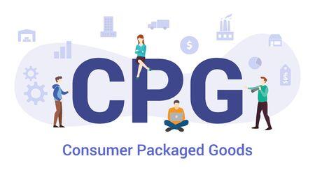 concept de biens de consommation cpg avec grand mot ou texte et équipe avec style plat moderne - illustration vectorielle