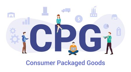cpg consumer packaged goods concept with big word or text and team people with modern flat style - vector illustration Ilustração