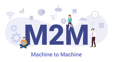 m2m machine to machine concept with big word or text and team people with modern flat style - vector illustration Иллюстрация