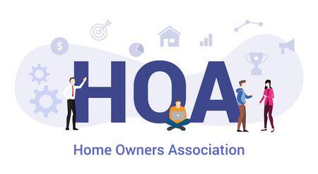 Concepto de asociación de propietarios de viviendas hoa con gran palabra o texto y personas del equipo con estilo plano moderno - ilustración vectorial