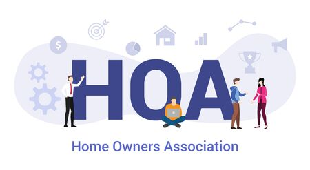 hoa home owners association concept with big word or text and team people with modern flat style - vector illustration