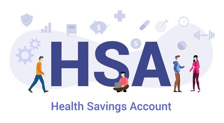hsa health savings account concept with big word or text and team people with modern flat style - vector illustration