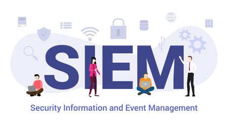 siem security information and event management concept with big word or text and team people with modern flat style - vector illustration