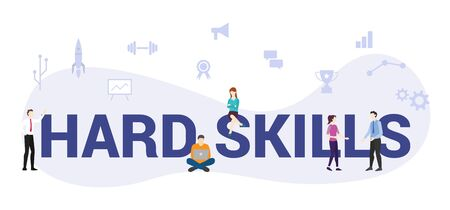 hard skills concept with big word or text and team people with modern flat style - vector illustration