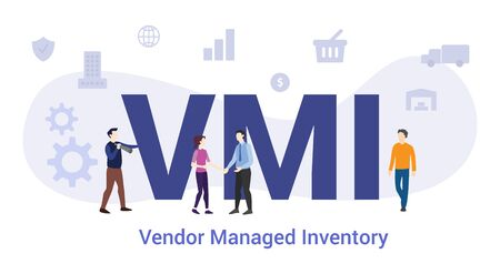 vmi vendor managed invectory concept with big word or text and team people with modern flat style - vector illustration 向量圖像