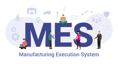 mes manufacturing execution system concept with big word or text and team people with modern flat style - vector illustration Stock Vector - 131932812