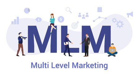 concept de marketing multi-niveau mlm avec un grand mot ou un texte et des gens d'équipe avec un style plat moderne - illustration vectorielle Vecteurs