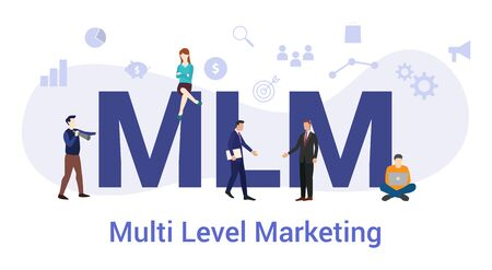 mlm multi level marketing concept with big word or text and team people with modern flat style - vector illustration Ilustracja